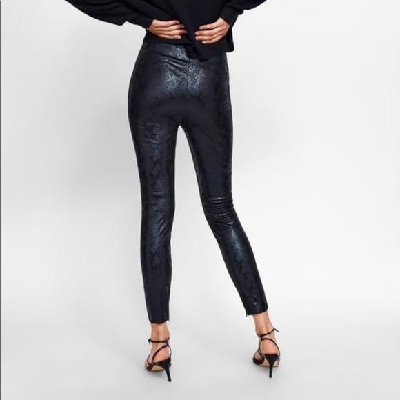 0a5fb0568c68cf Zara Pants | Nwt Black Faux Snakeskin Sz Med | Poshmark